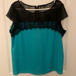 Tops - Super Cute Mesh Black and Blue Blouse